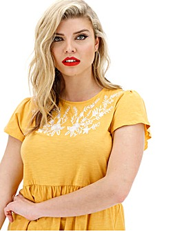 Junarose Floral Embroidered Peplum Top