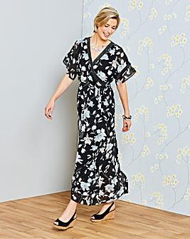 Kimono Sleeve Wrap Front Maxi Dress
