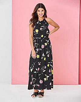 Black Print Floral Halterneck Maxi Dress