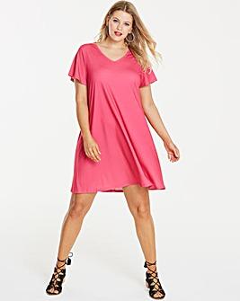V-Neck Jersey Swing Dress