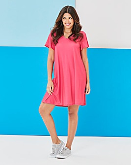 V-Neck Jersey Swing Dress