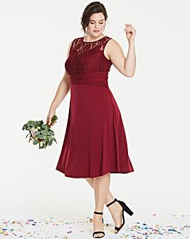Bridesmaid Lace Yoke Skater Dress