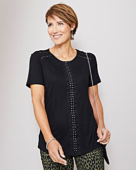 Julipa Black Lace Trim Jersey Top