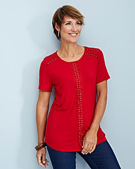 Julipa Red Lace Trim Jersey Top