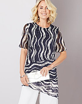 Julipa Navy Stripe Lace Stripe Tunic