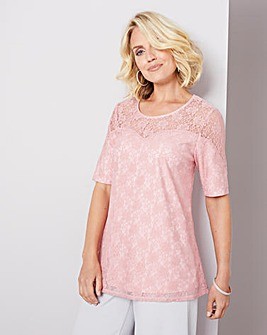 Julipa Dusky Pink Lace Swing Top