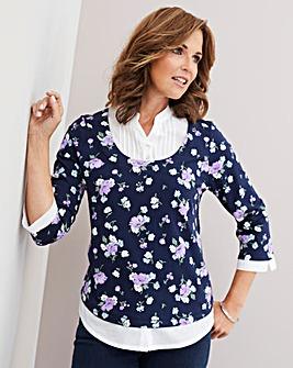 Julipa Jersey Top with Mock Shirt Insert