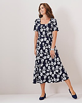 Julipa Navy Stretch Square Neck Dress