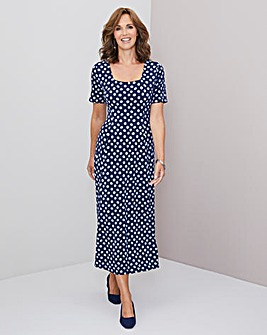 Julipa Blue Spot Stretch Square Neck Dress
