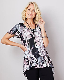 Julipa Print Hanky Hem Top and Necklace
