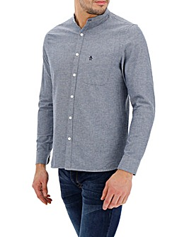 Original Penguin Chambray Grandad Collar Long Sleeve Shirt