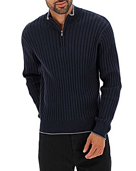 Peter Werth Zip Neck Rib Jumper