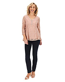 Julipa Pink Zip Lace Top