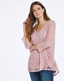 Julipa Pink Zip Lace Top