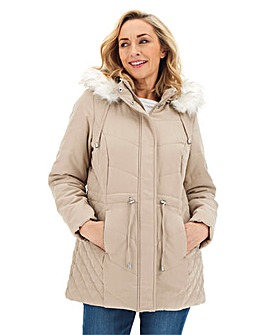 Microfibre Parka with Faux Fur Trim Hood