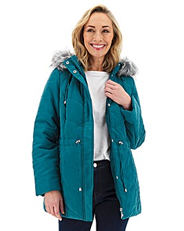 Julipa Microfibre Parka with Faux Fur Trim Hood