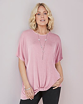 Julipa Slinky Top With Knot Hem