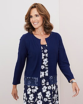 Julipa Navy Lace Trim Shrug