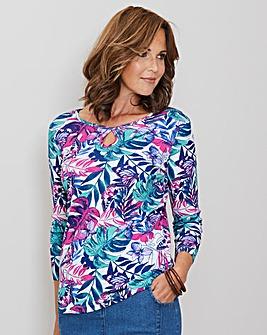Julipa Pink/Jade Floral Print Jersey Top