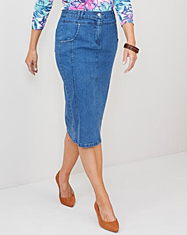 Julipa Stonewash Denim Look Pencil Skirt 23""