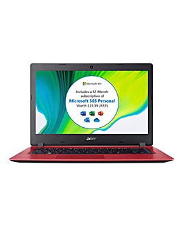 Acer Aspire 1 14in Full HD Notebook Red - Intel Pentium, 4GB RAM, 64GB