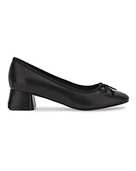 Flexi Sole Bow Trim Ballerina Court Shoes Wide E Fit