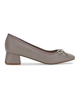 Flexi Sole Bow Trim Ballerina Court Shoes Wide E Fit