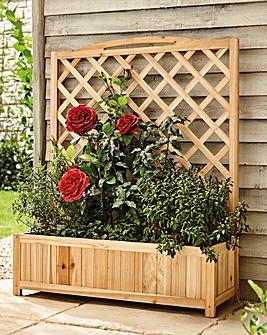 Fir Wood Wide Trellis Planter Set of 2