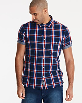 Jacamo Check Trim S/S Shirt Regular