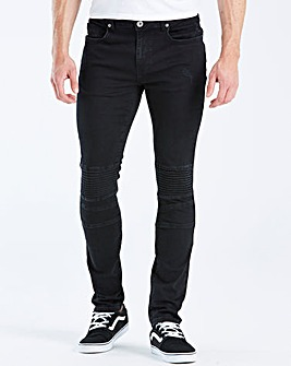 Skinny Biker Black Jeans 33 in
