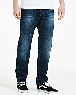 Jacamo Crosshatch Wash Jeans With Turn Up 31in