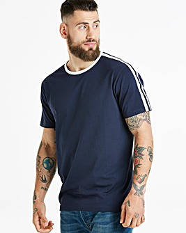 Jacamo Stripe Sleeve T-Shirt Regular