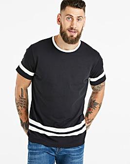 Jacamo Sleeve and Hem Stripe T-Shirt Reg