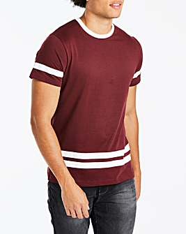 Jacamo Sleeve and Hem Stripe T-Shirt Reg