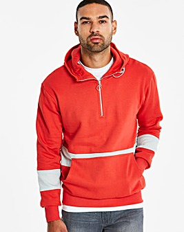 Jacamo Red 1/4 Zip Hooded Top Long