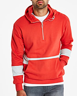 Red 1/4 Zip Hooded Top Long