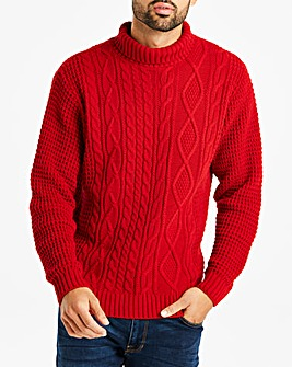 Jacamo Roll Neck Cable Jumper Long