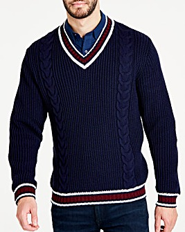 Jacamo Navy Cricket Jumper Long