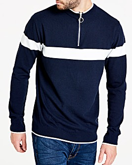 Navy 1/4 Zip Neck Jumper R