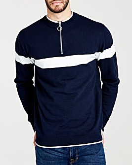 Navy 1/4 Zip Neck Jumper L