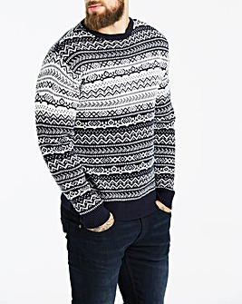 Jacamo Navy Fairisle Jumper Long