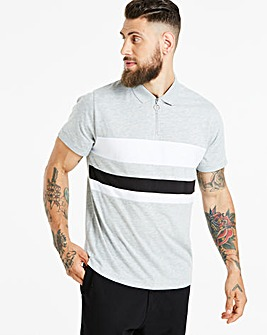 Jacamo Zip Neck Panel Polo Long
