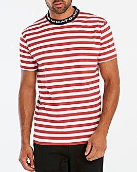 Jacamo Collar Detail Stripe T-Shirt Long