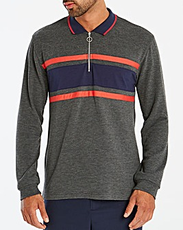 L/S Zip Neck Stripe Panel Polo Long