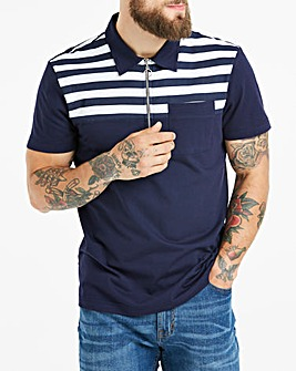 Stripe Yoke Polo Long