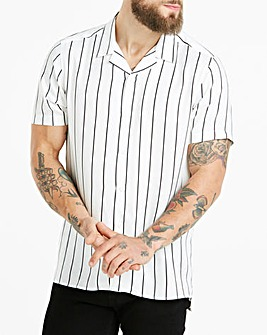 Jacamo Stripe Revere Collar Shirt Long
