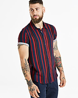 Jacamo Stripe Viscose S/S Shirt Long