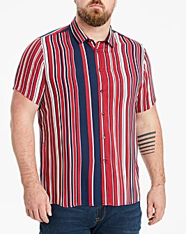 Jacamo Stripe Viscose Short Sleeve Shirt Regular
