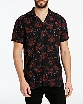 Jacamo Dark Floral Revere Shirt Long