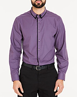 Dark Purple Double Collar Detail L/S Party Shirt Regular